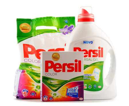 commercially: POZNAN, POLAND - JUNE 24, 2016: Introduced by Henkel in 1907 Persil was the first commercially available self-activated laundry detergent. Now distributed also by Unilever.