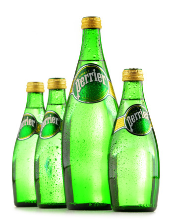 Mineral: POZNAN, POLAND - JUNE 24, 2016: Perrier is a French brand of natural bottled mineral water sold worldwide and available in 140 countries. Editorial