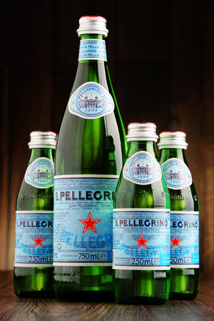 exported: POZNAN, POLAND - JUNE 23, 2016: San Pellegrino is an Italian brand of mineral water made in the Province of Bergamo, Italy. Owned by Nestle since 1997, it is exported to most countries in Europe, the Americas, Australia and Asia.