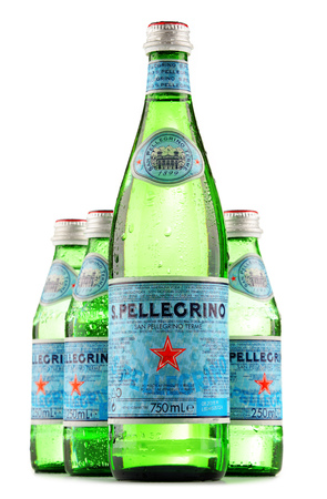 exported: POZNAN, POLAND - JUNE 24, 2016: San Pellegrino is an Italian brand of mineral water made in the Province of Bergamo, Italy. Owned by Nestle since 1997, it is exported to most countries in Europe, the Americas, Australia and Asia.