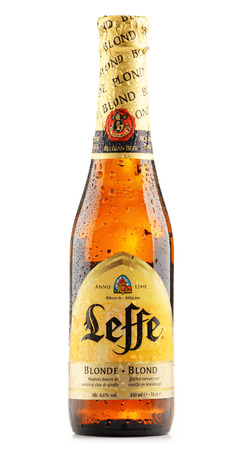 pilsner glass: POZNAN, POLAND - JUNE 22, 2016: Leffe is a brand of beer owned by InBev Belgium, the European operating arm of the global Anheuser�Busch InBev brewery Editorial