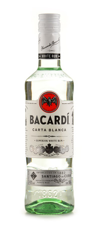 POZNAN, POLAND - JUNE 23, 2016: Bacardi white rum is a product of Bacardi Limited, the largest privately held, family-owned spirits company in the world, headquartered in Hamilton, Bermuda.