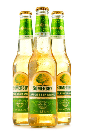 carlsberg: POZNAN, POLAND - JUNE 24, 2016: Somersby cider is a brand of 4.5% abv cider produced by Danish brewing company Carlsberg Group. It is being sold in more than 46 countries. Editorial