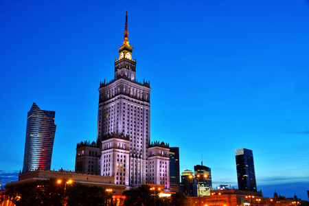 downtown capitol: Warsaw city center with Palace of Culture and Science, the tallest building in Poland and the eighth tallest building in the EU Editorial