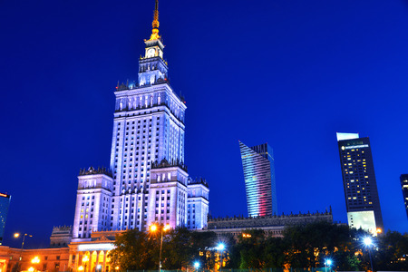 Warsaw city center with Palace of Culture and Science, the tallest building in Poland and the eighth tallest building in the EU Editorial