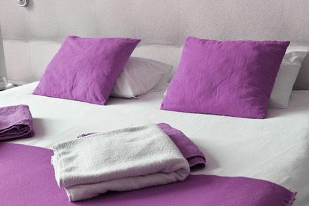 accommodation: Double bed in hotel room. Accommodation.