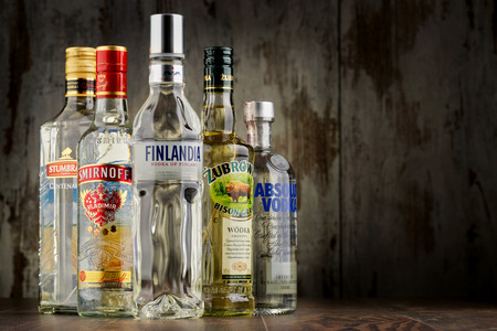 internationally: POZNAN, POLAND - JULY 15, 2016: vodka is the world�s largest internationally traded spirit with the estimated sale of about 500 million nine-liter cases a year. Editorial