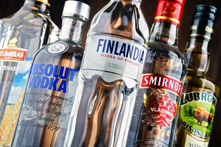 traded: POZNAN, POLAND - JULY 15, 2016: vodka is the world's largest internationally traded spirit with the estimated sale of about 500 million nine-liter cases a year. Editorial