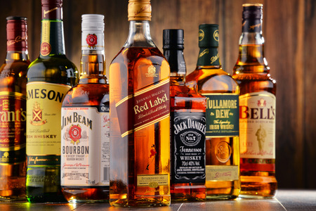 scotish: POZNAN, POLAND - JULY 27, 2016: Whiskey is the most popular liquor in the world. Originated probably in Ireland, now it is produced on grand scale also in India, Scotland, USA, Canada and Japan