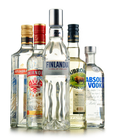 traded: POZNAN, POLAND - JULY 15, 2016: vodka is the world�s largest internationally traded spirit with the estimated sale of about 500 million nine-liter cases a year. Editorial