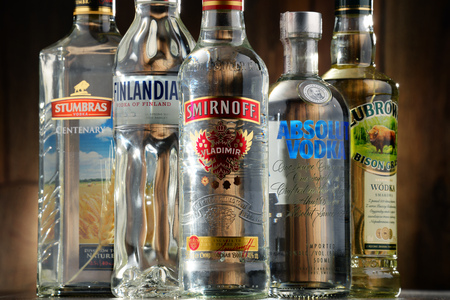 internationally: POZNAN, POLAND - JULY 15, 2016: vodka is the worlds largest internationally traded spirit with the estimated sale of about 500 million nine-liter cases a year.