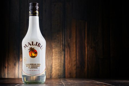 indies: POZNAN, POLAND - JULY 27, 2016: Malibu Rum is a flavored rum-based liqueur made with natural coconut extract, produced by West Indies Rum Distillery Ltd. on Barbados