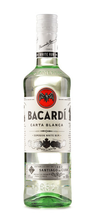 bacardi: POZNAN, POLAND - JULY 28, 2016: Bacardi white rum is a product of Bacardi Limited, the largest privately held, family-owned spirits company in the world, headquartered in Hamilton, Bermuda.
