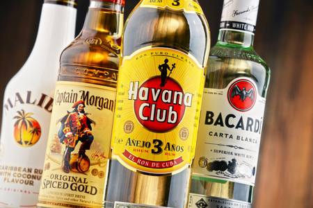 bacardi: POZNAN, POLAND - JULY 27, 2016: The Most famous global rum brands come from Caribbean and this is where the beverage originated as a drink made from fermented and distilled sugarcane byproducts