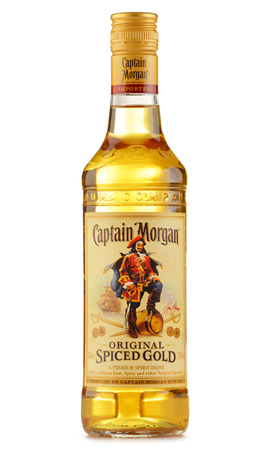 liquors: POZNAN, POLAND - JULY 28, 2016: Originated on US Virgin Islands Captain Morgan is a brand of rum produced by Diageo, British multinational alcoholic beverages company headquartered in London Editorial