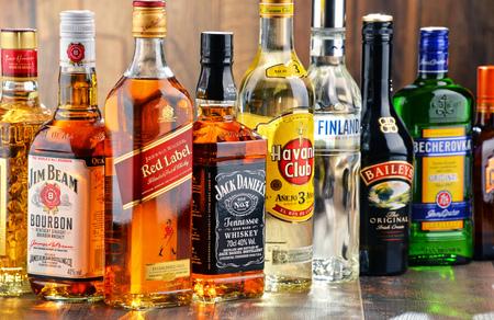 botella de licor: Poznan, Polonia - 27 de julio de 2016: En todo el mundo alrededor de 2 mil millones de personas usan el alcohol, una de las drogas recreativas más ampliamente utilizados en la tierra, con un consumo anual de más de 6 litros de alcohol puro por persona