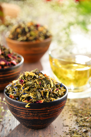 sencha tea: Composition with bowls of tea leaves.