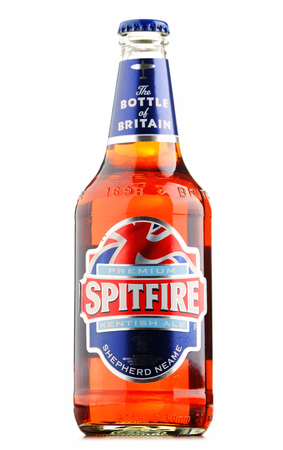 conditioned: POZNAN, POLAND - AUGUST 12, 2016: Spitfire Premium Kentish Ale is the best-selling cask conditioned ale of Shepherd Neame, an English independent regional brewery from Faversham, Kent