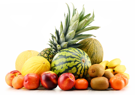 balanced: Composition with assorted fruits. Balanced diet