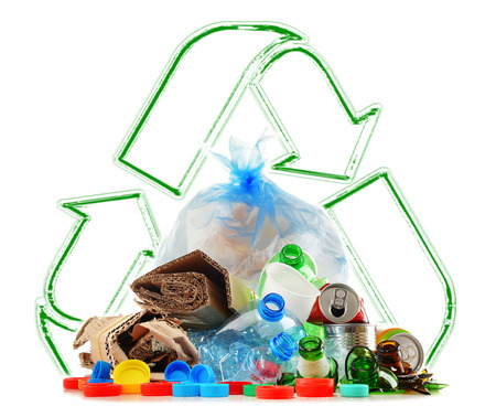glass paper: Recyclable garbage consisting of glass, plastic, metal and paper isolated on white