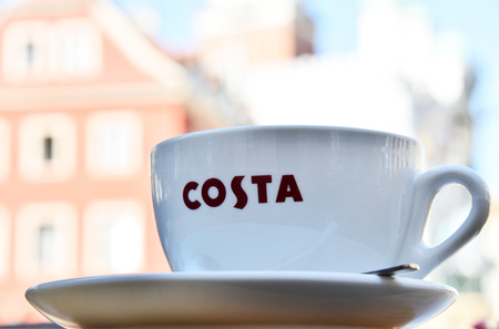 POZNAN, POLAND - AUGUST 31, 2016: Costa Coffee is a British multinational coffeehouse company headquartered in Dunstable, Bedfordshire; second largest coffeehouse chain in the world. Editorial