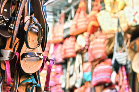 medina: Commercial goods in medina of Marrakesh, Morocco