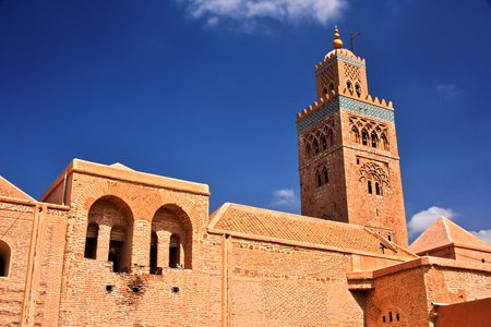 Koutoubia Mosque in the southwest medina quarter of Marrakesh, Morocco Stock Photo