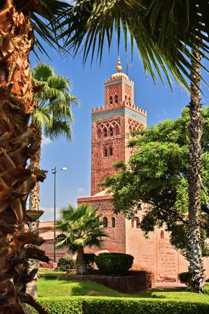 medina: Koutoubia Mosque in the southwest medina quarter of Marrakesh, Morocco Stock Photo