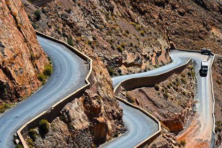 gorges: Serpentine mountain trail in Gorges Dades in high Atlas, Morocco