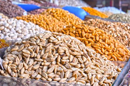 Dried food on the arab street market stall.