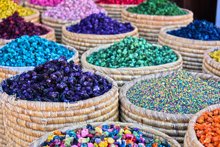 Variety of decorating goods on the arab street market stall Stock Photo
