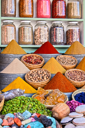 souk: Variety of spices on the arab street market stall