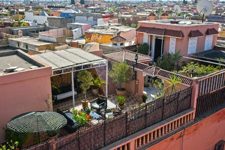 medina: View of Marrakesh Medina, Morocco. Stock Photo