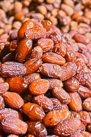 Dried dates on the arab street market stall.