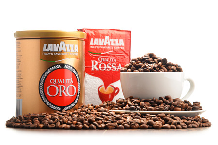 POZNAN, POLAND - OCT 12, 2016: Lavazza is an Italian manufacturer of coffee products It was founded in Turin in 1895 by Luigi Lavazza.