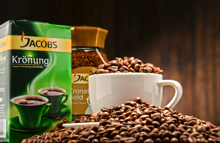 marketed: POZNAN, POLAND - OCT 12, 2016: Jacobs is a brand of coffee marketed in Europe by Jacobs Douwe Egberts headquartered in Amsterdam, Netherlands