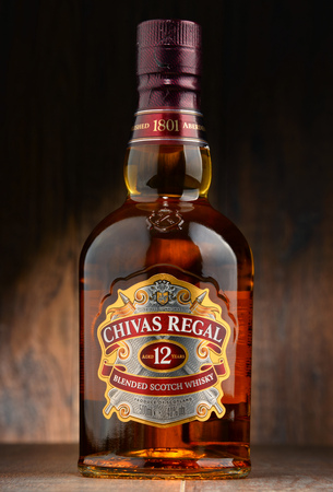keith: POZNAN, POLAND - OCT 11, 2016: Blended from whiskies matured for at least 12 years Chivas Regal 12 is a blended Scotch whisky produced by Chivas Brothers in Keith, Scotland