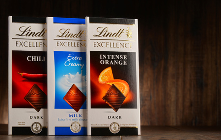 POZNAN, POLAND - OCT 11, 2016: Founded in 1845 Lindt & Spruengli AG is a Swiss chocolatier and confectionery company known for their chocolate bars and other sweets Editorial
