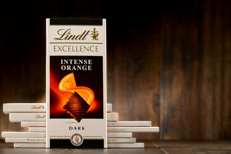 lindt: POZNAN, POLAND - OCT 11, 2016: Founded in 1845 Lindt & Spruengli AG is a Swiss chocolatier and confectionery company known for their chocolate bars and other sweets Editorial