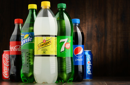 dr: POZNAN, POLAND - OCT 13, 2016: Global soft drink market is dominated by brands of few multinational companies founded in North America. Among them are Pepsico, Coca Cola and Dr. Pepper Snapple Group