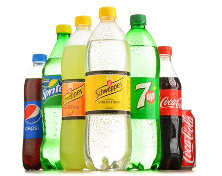 POZNAN, POLAND - OCT 13, 2016: Global soft drink market is dominated by brands of few multinational companies founded in North America. Among them are Pepsico, Coca Cola and Dr. Pepper Snapple Group