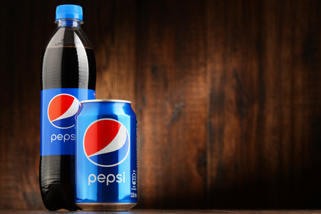 non alcoholic beverage: POZNAN, POLAND - OCT 13, 2016: Pepsi is a carbonated soft drink produced and manufactured by PepsiCo. The beverage was created and developed in 1893 under the name Brads Drink