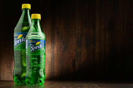 seltzer: POZNAN, POLAND - OCT 13, 2016: Sprite is a brand of soft drink, created by the Coca-Cola Company, developed in West Germany in 1959 as a response to the popularity of 7 Up Editorial