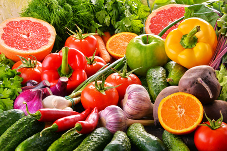 Composition with variety of fresh organic vegetables and fruits. Stock fotó - 64678137