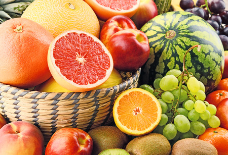 alimentacion equilibrada: Composition with assorted fruits. Balanced diet