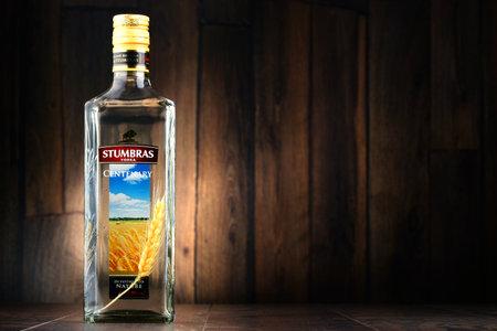 established: POZNAN, POLAND - JULY 15, 2016: AB Stumbras is the oldest and largest producer of distilled beverages in Kaunas, Lithuania, established in 1906.