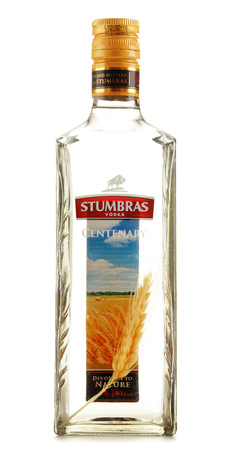 distilled: POZNAN, POLAND - JULY 15, 2016: AB Stumbras is the oldest and largest producer of distilled beverages in Kaunas, Lithuania, established in 1906.