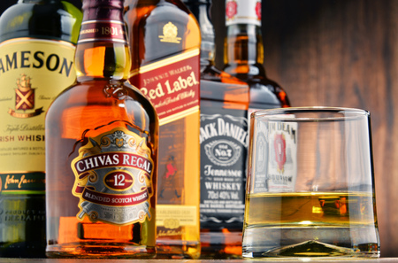 POZNAN, POLAND - OCT 12, 2016: Whiskey is the most popular liquor in the world. Originated probably in Ireland, now it is produced also in India, Scotland, USA Canada and Japan with over 230 millions of 9 liter cases sold in 2014 Editorial