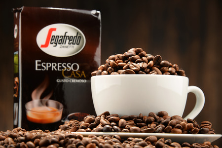 massimo: POZNAN, POLAND - OCT 12, 2016: Segafredo Zanetti is a coffee brand owned by Massimo Zanetti Beverage Group the biggest private company in the coffee industry headquartered in Bologna, Italy Editorial