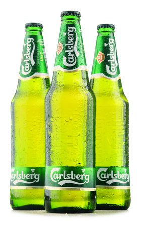 carlsberg: POZNAN, POLAND - OCT 28, 2016: Carlsberg globaly distributed pale lager beer produced by Carlsberg Group, a Danish brewing company founded in 1847 with headquarters located in Copenhagen, Denmark Editorial